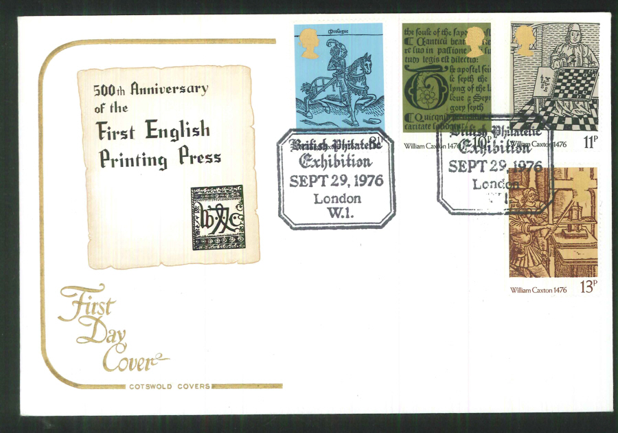 1976 Cotswold Caxton FDC B Phil Exhibition London Postmark