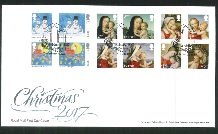 2017 Christmas FDC - Canterbury (Window) Postmark
